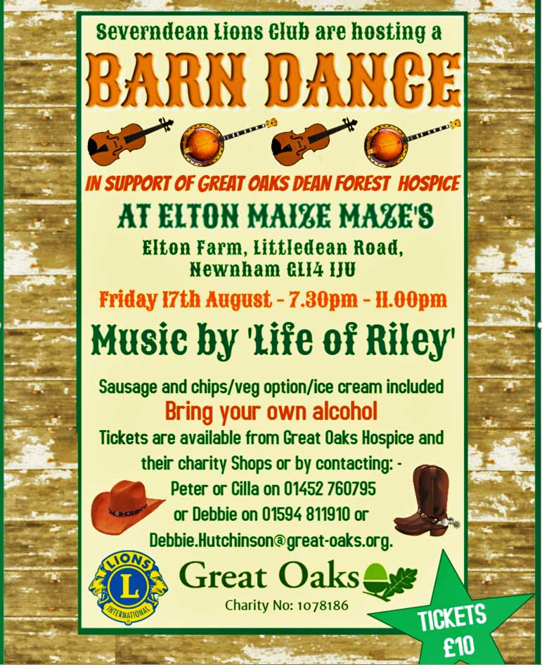 A poster for a Barn Dance at Elton Giant Mazes with the Life of Riley